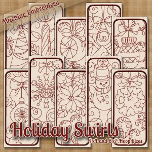 Holiday Redwork Embroidery Designs