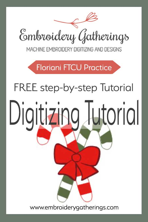 Learn to embroidery digitizing with Floriani FTCU. Practice your holiday digitizing with these colorful candy canes. #florianiftcu #embroiderydigitizing #embroiderydesigns #embroiderygatherings