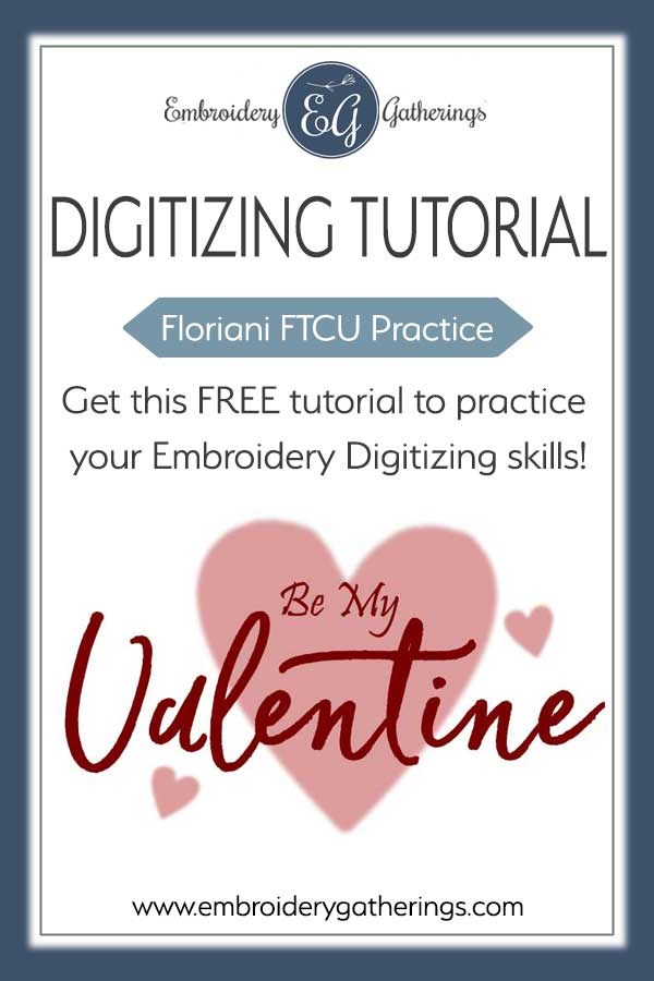 Practice your Floriani FTCU embroidery digitizing skills with this Practice Challenge using fill stitches and text. Download a FREE PDF practice guide and image. #florianiFTCU #embroiderydigitizing #digitizingpractice #embroiderygatherings