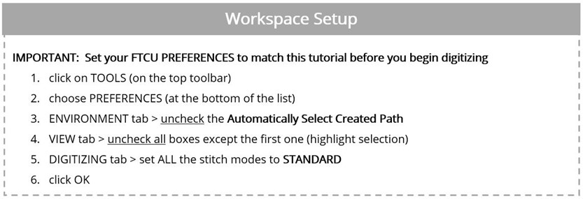 Learn to setup your workspace in Floriani FTCU
