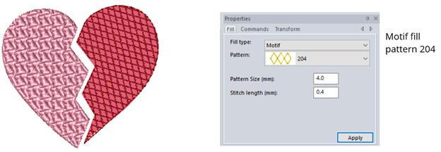 choose motif fill pattern in floriani ftcu