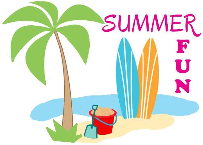 summer beach-surfboards-palm tree