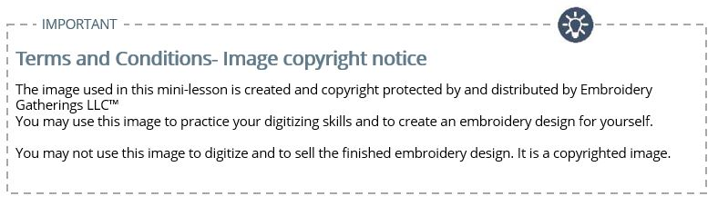 Embroidery Gatherings copyright notice